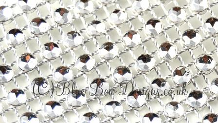 Close up on Silver Diamante mesh