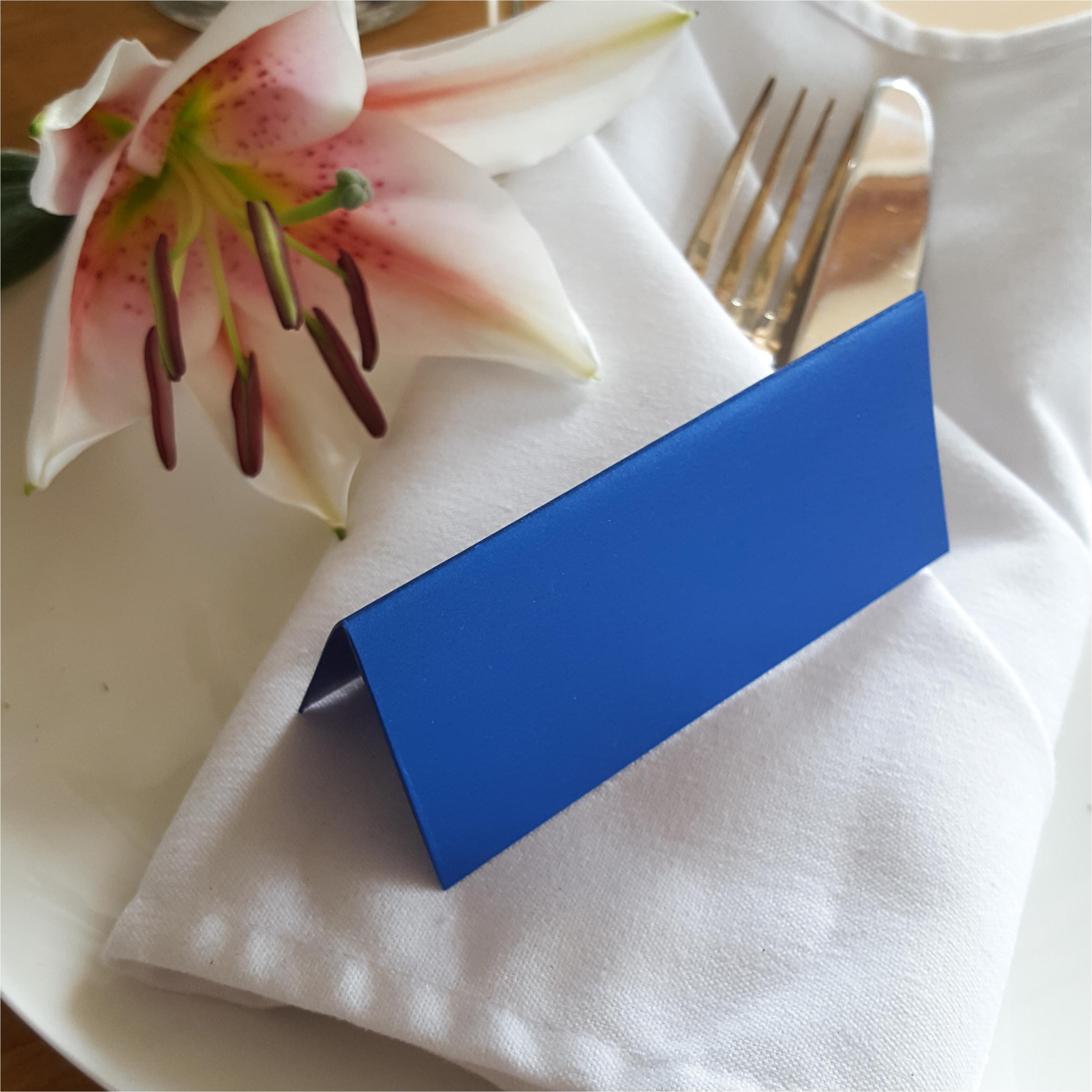Medium Royal blue place card Pearlescent card