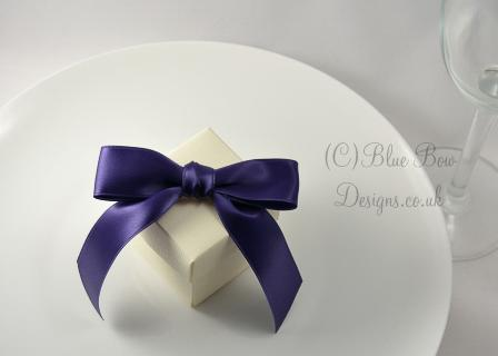 25 mm regal purple pre tied bow