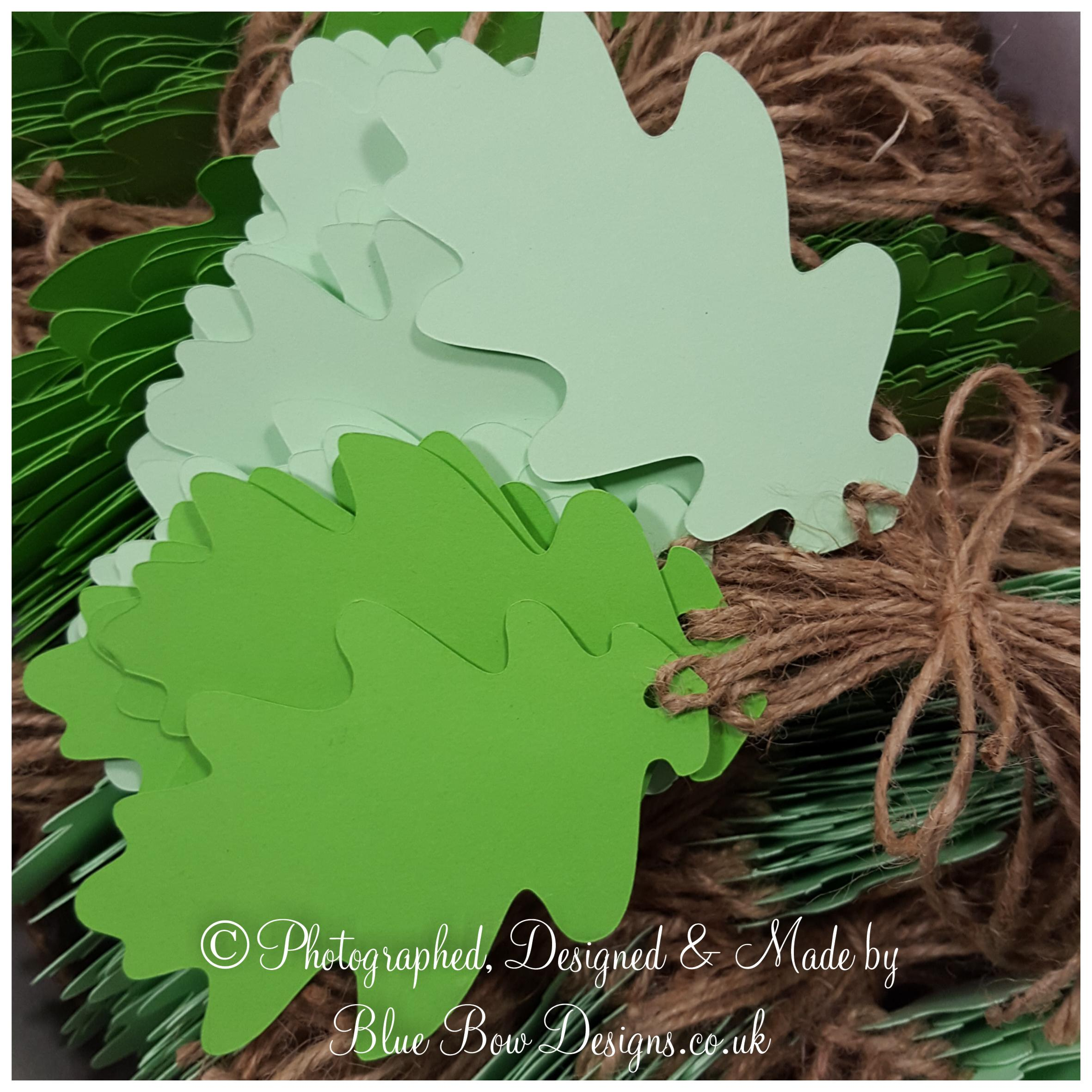 Oak leaf tags with hessian string Apple green and spring green card