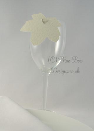 Ivory hammered card sycamore leaf wine glass place card