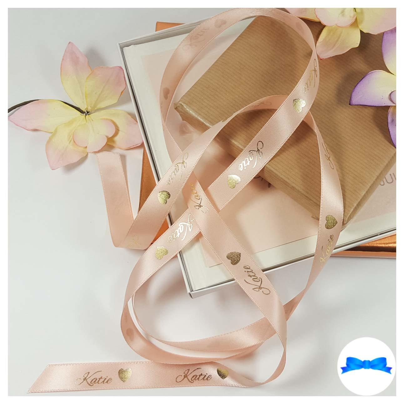 Peach and gold personalised printed ribbon