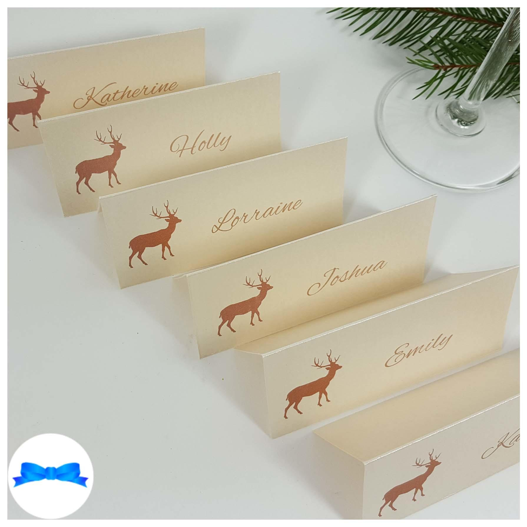 Ivory reindeer place cards