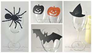 Pumpkin, witches hat , spider and bat wine glass place cards