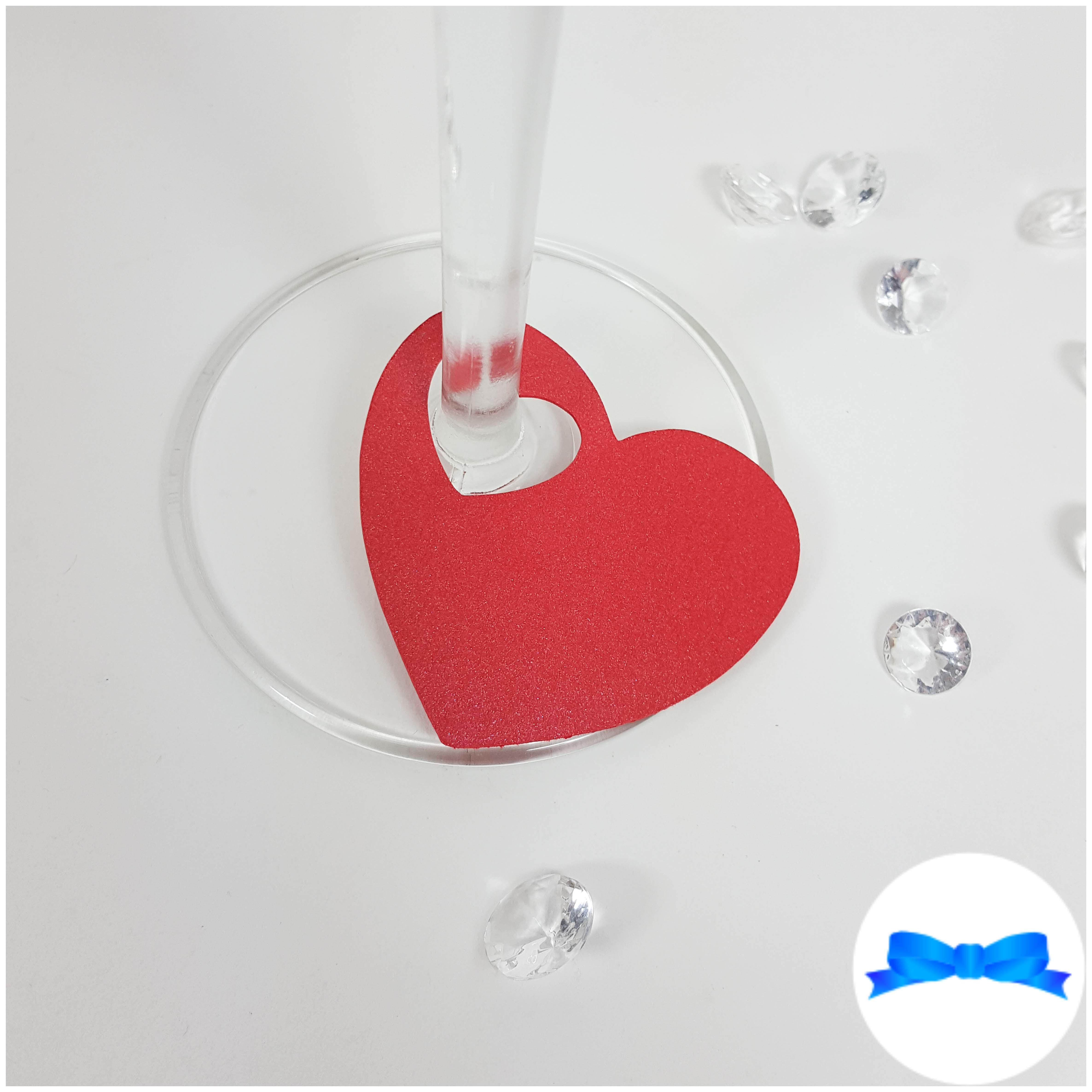 Red Heart wine glass card