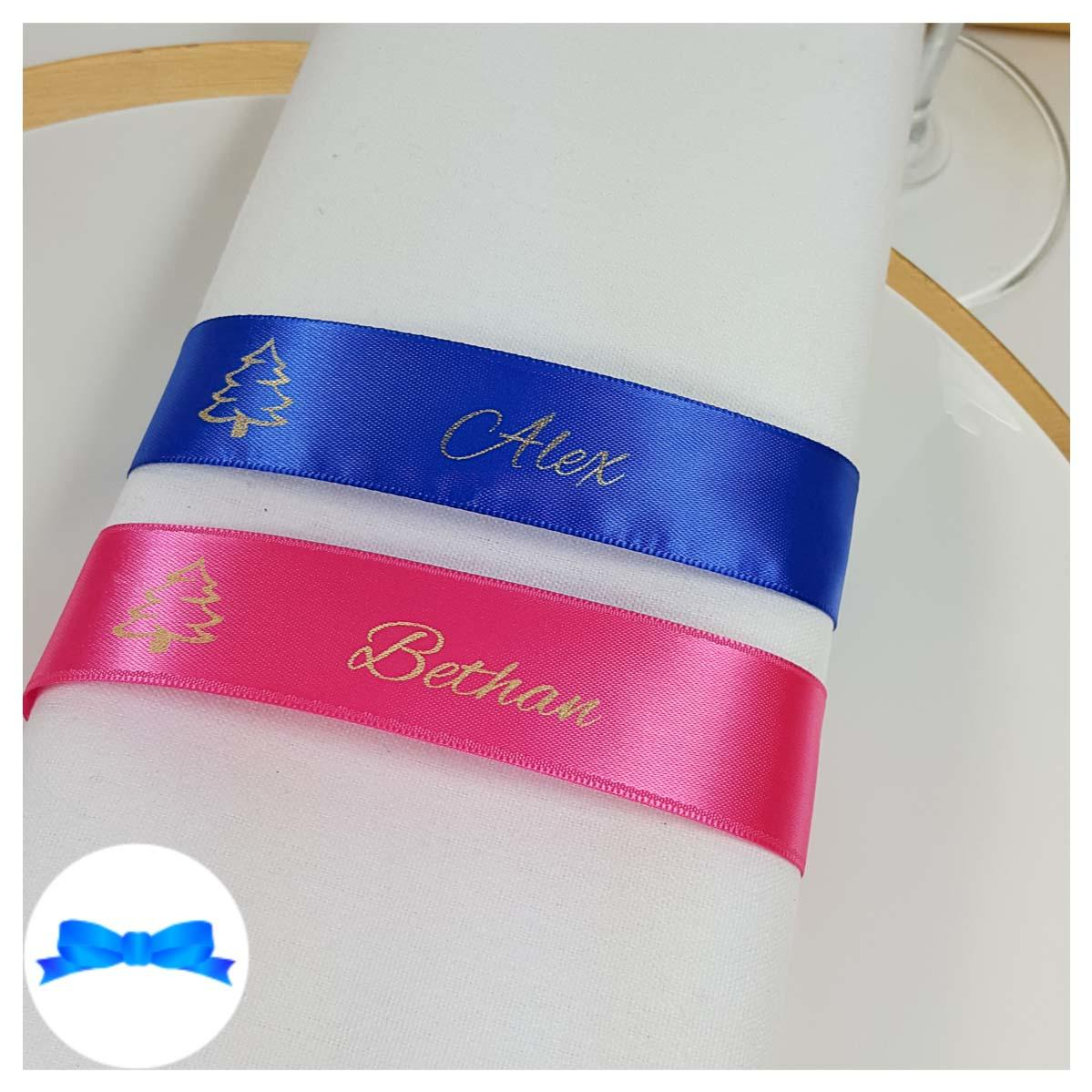 Royal blue and fuchsia beauty ribbon colours for napkin name ribbons