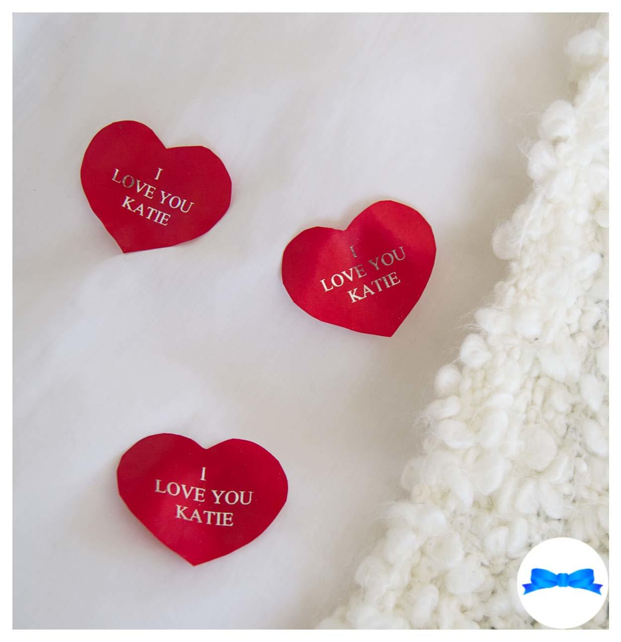 Red personalised petals heart shape