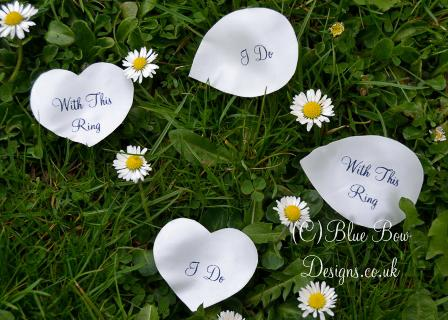 White personalised petals heart shape