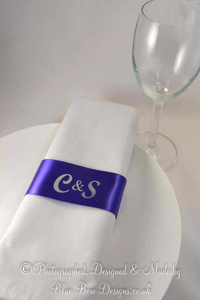Personalised Purple and Silver Monogrammed Napkin Ring ribbons