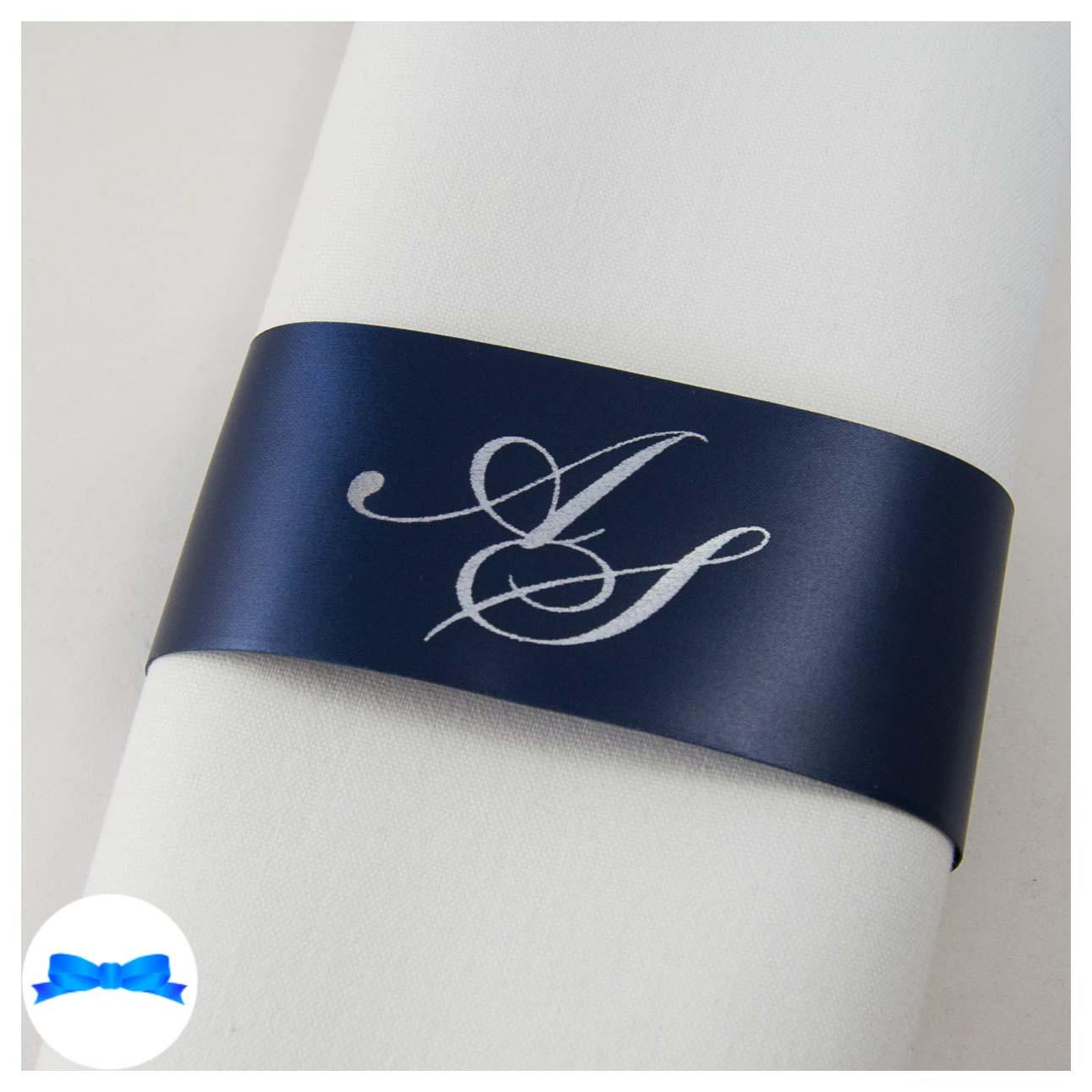 Personalised Navy and Silver Monogrammed Napkin Ring ribbon