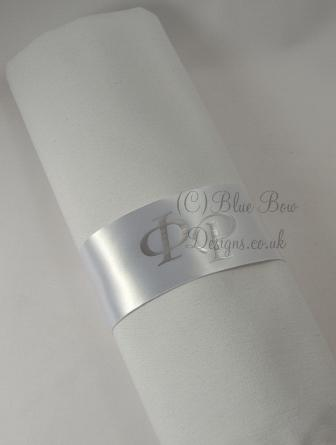 White and Silver Monogrammed Napkin Ring ribbon