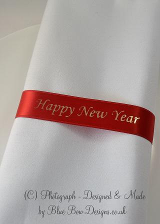Happy New year red satin ribbon napkins