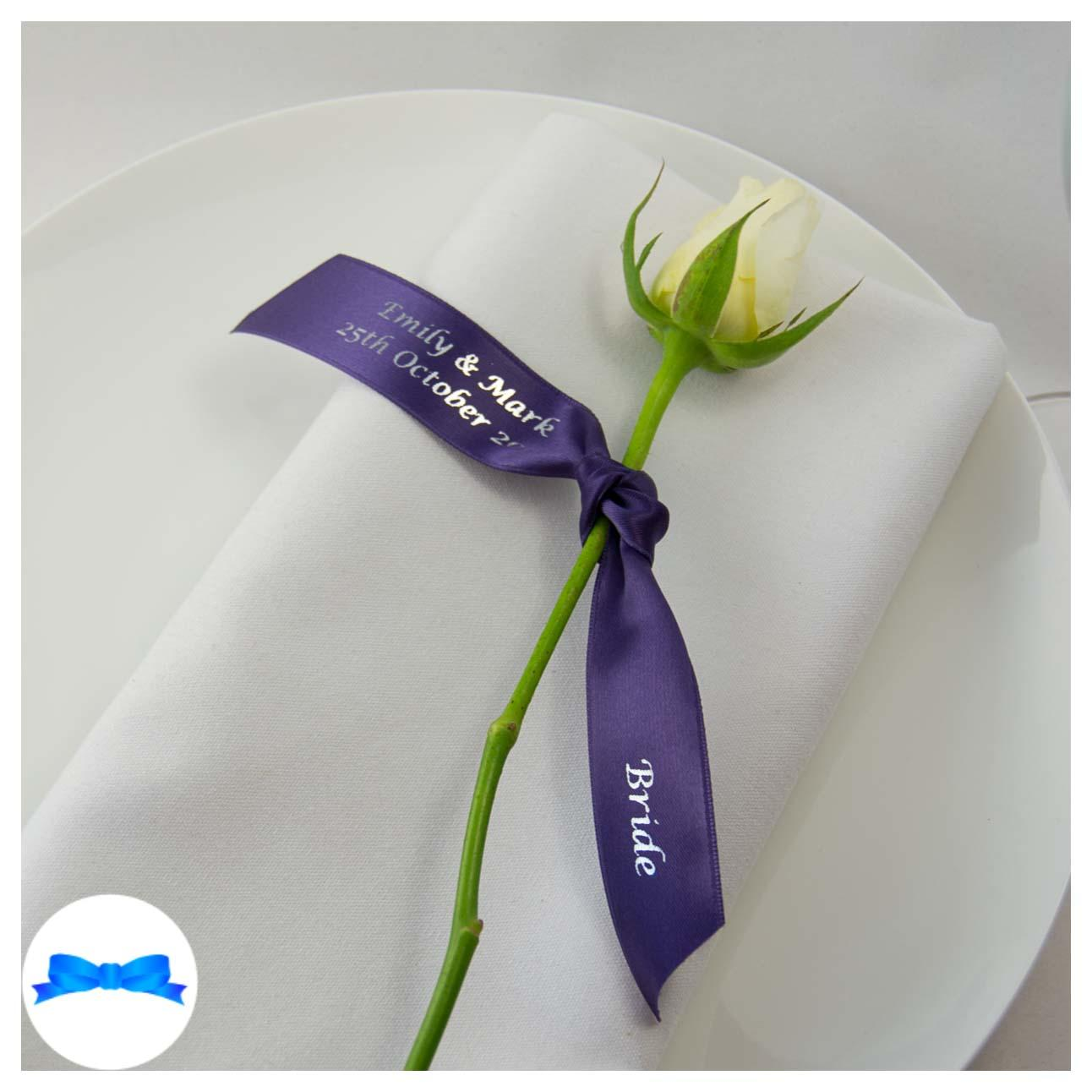 Printed ribbon for Place setting. Regal purple  ribbon and silver print