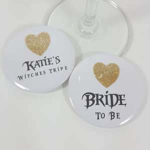 Witch and wizard hen party glitter badges
