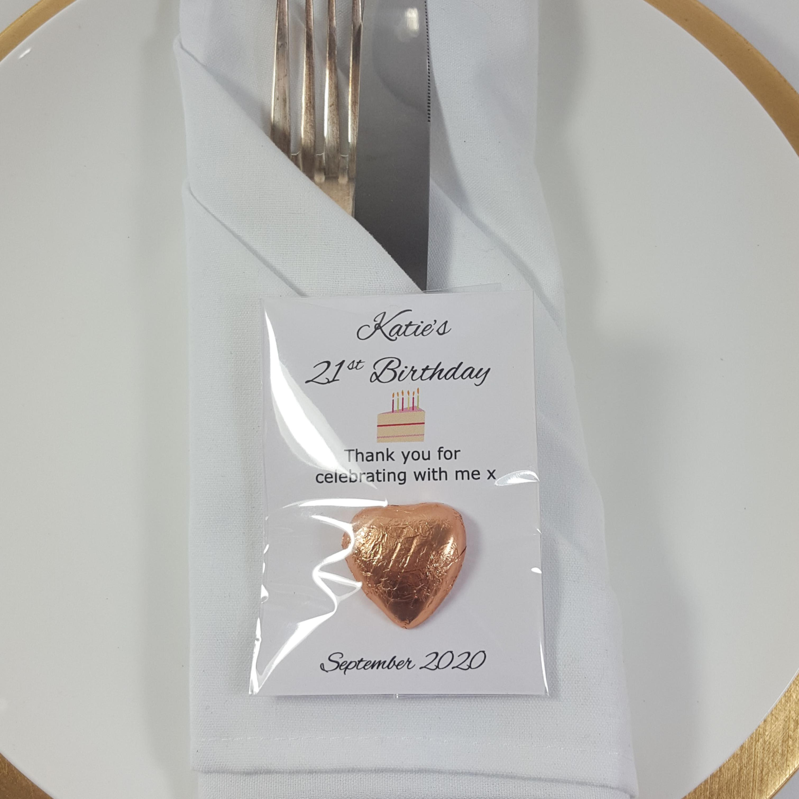 Personalised chocolate favour with cake artwork