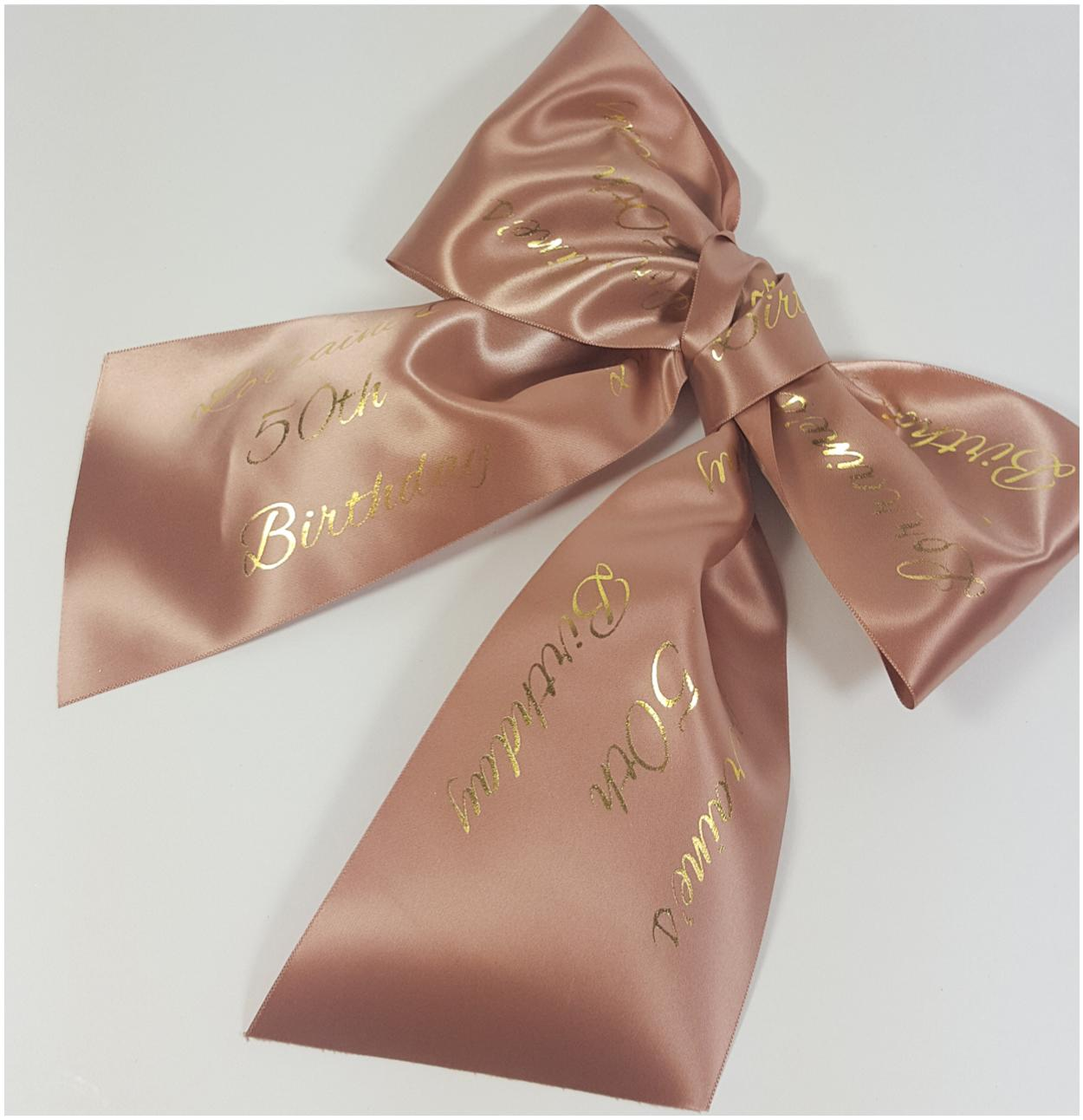 Personalised ribbon banner and bows