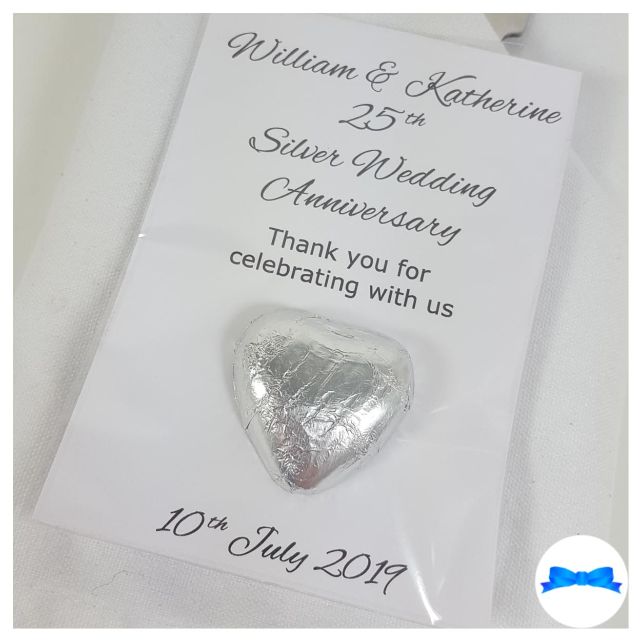 25th Silver anniversary personalised favours with silver hearts