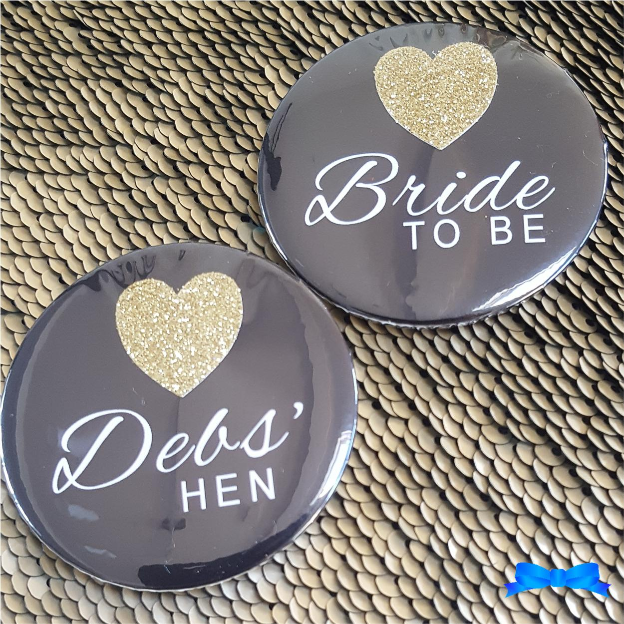 Black hen party badges with gold glitter