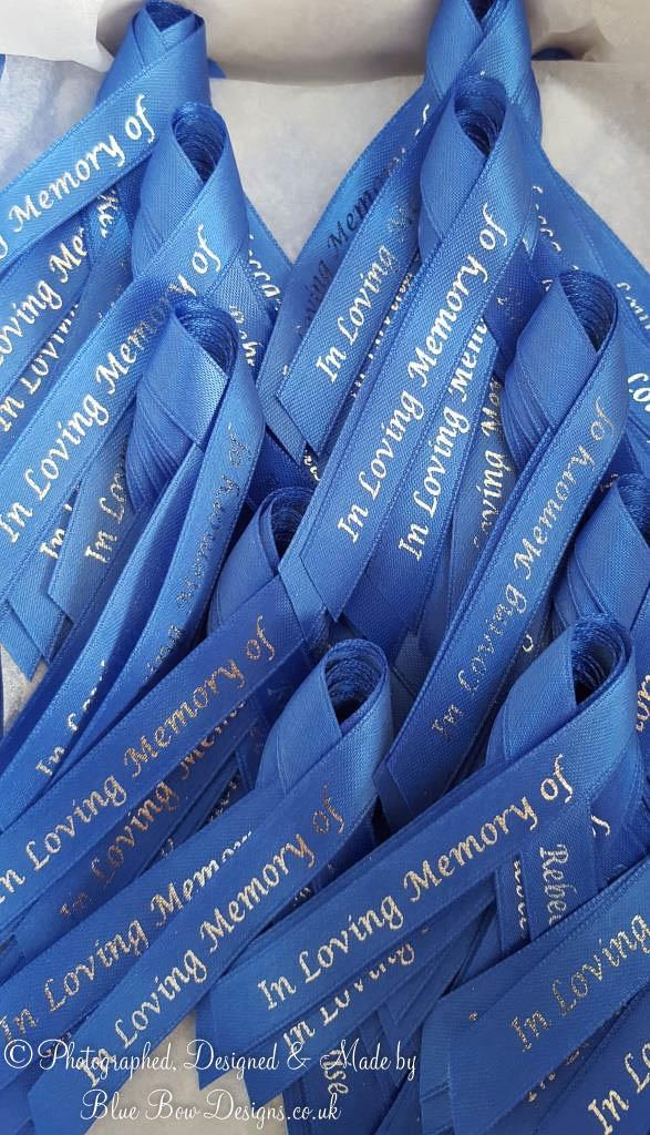 10 mm Royal Blue Funeral memorial ribbon with cross and silver print
