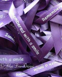 Purple memorial ribbons