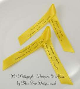 Yellow memorial ribbons