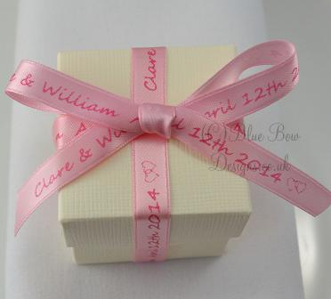 pink personalised ribbon on favour box