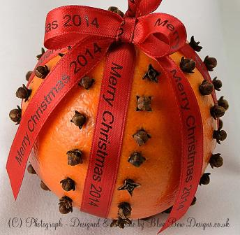 Red personalised ribbon on Christmas pomander