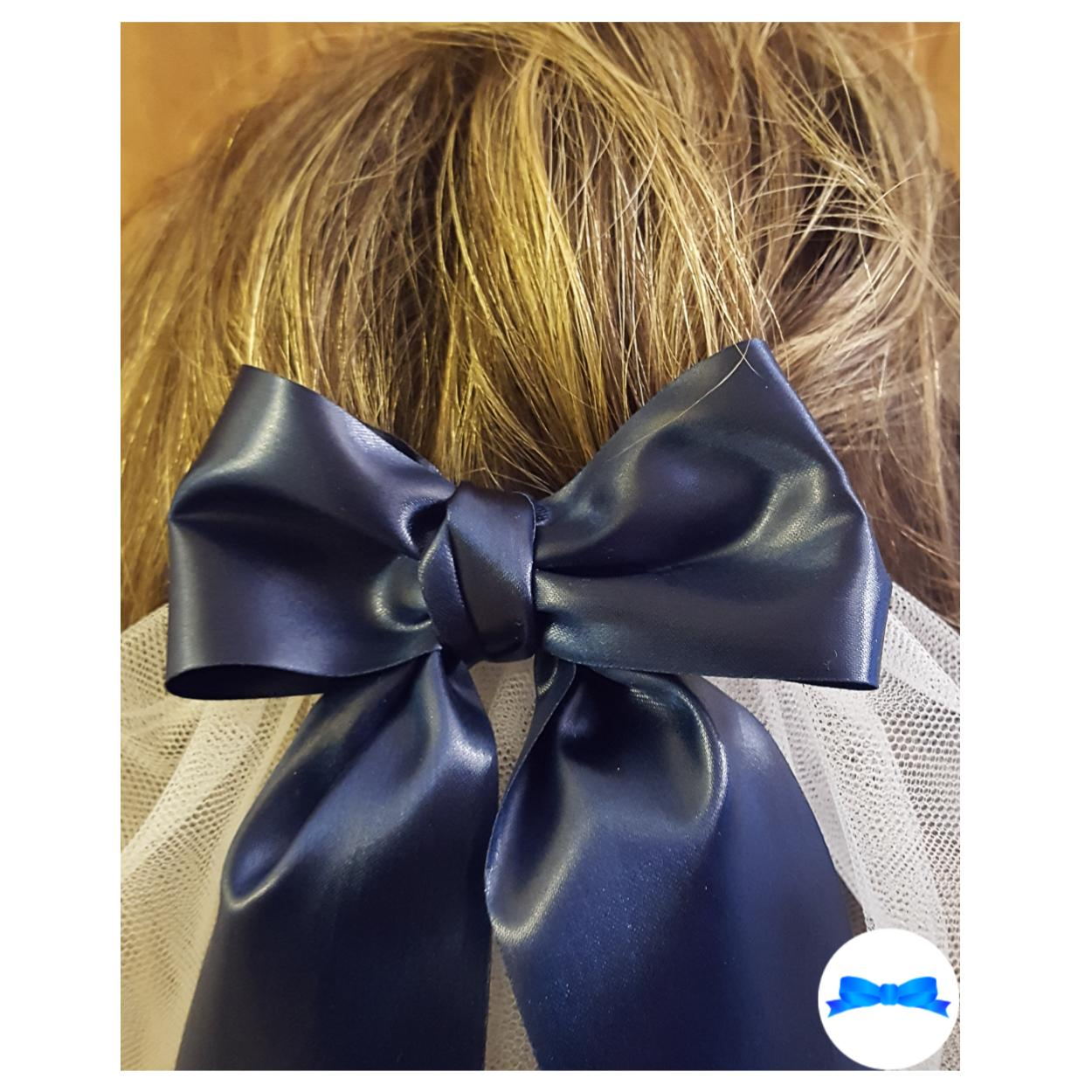 Close up on bow on Last sail before the veil hen party veil navy blue ribbon and silver print