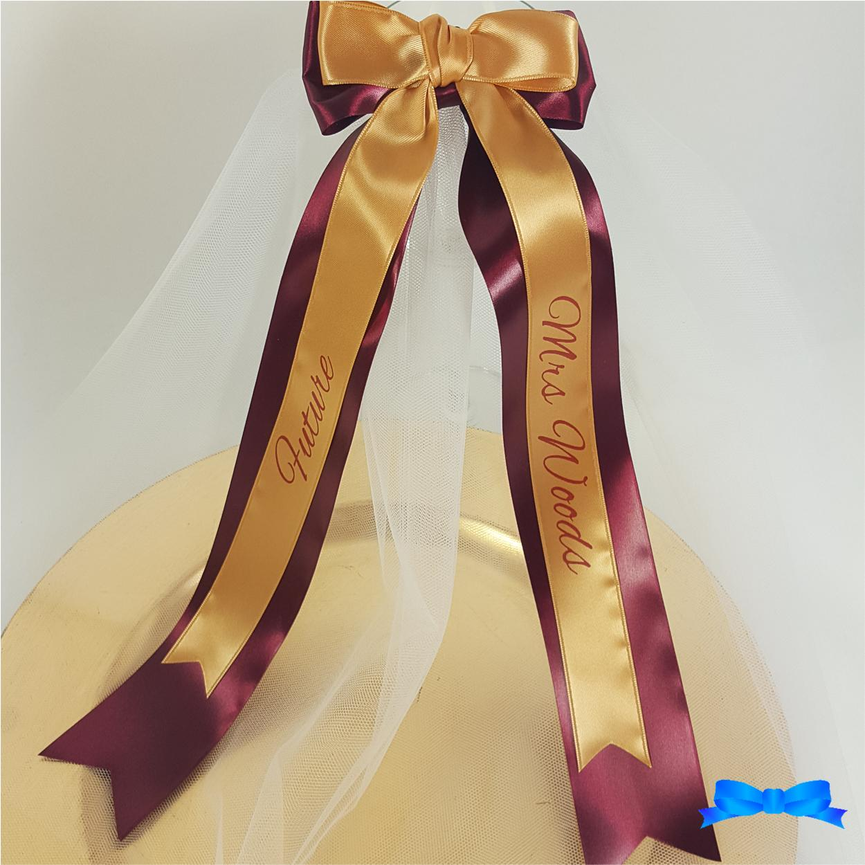 Hen party veil gold 25mm ribbon and 45 mm burgundy ribbon