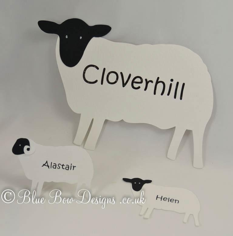 Sheep wine glass place cards and sheep table name card and sheep place cards