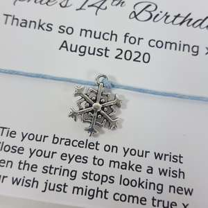 Personalised Snowflake bracelet with blue string