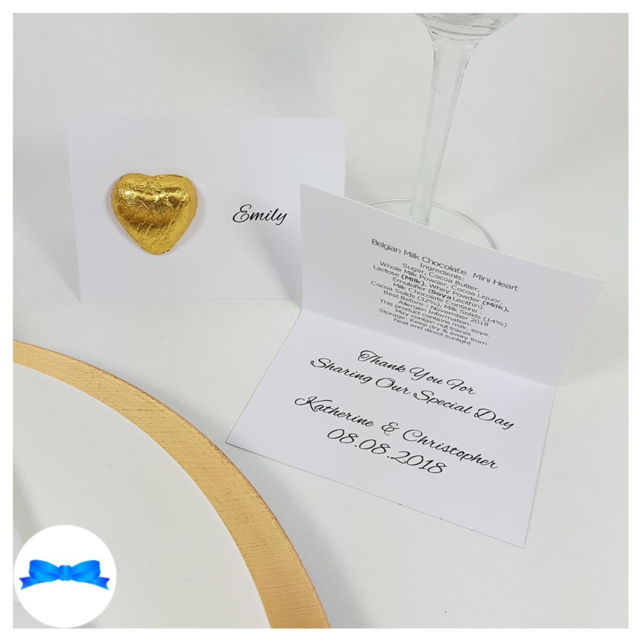 Gold Belgian chocolate heart chocolate heart favour with message