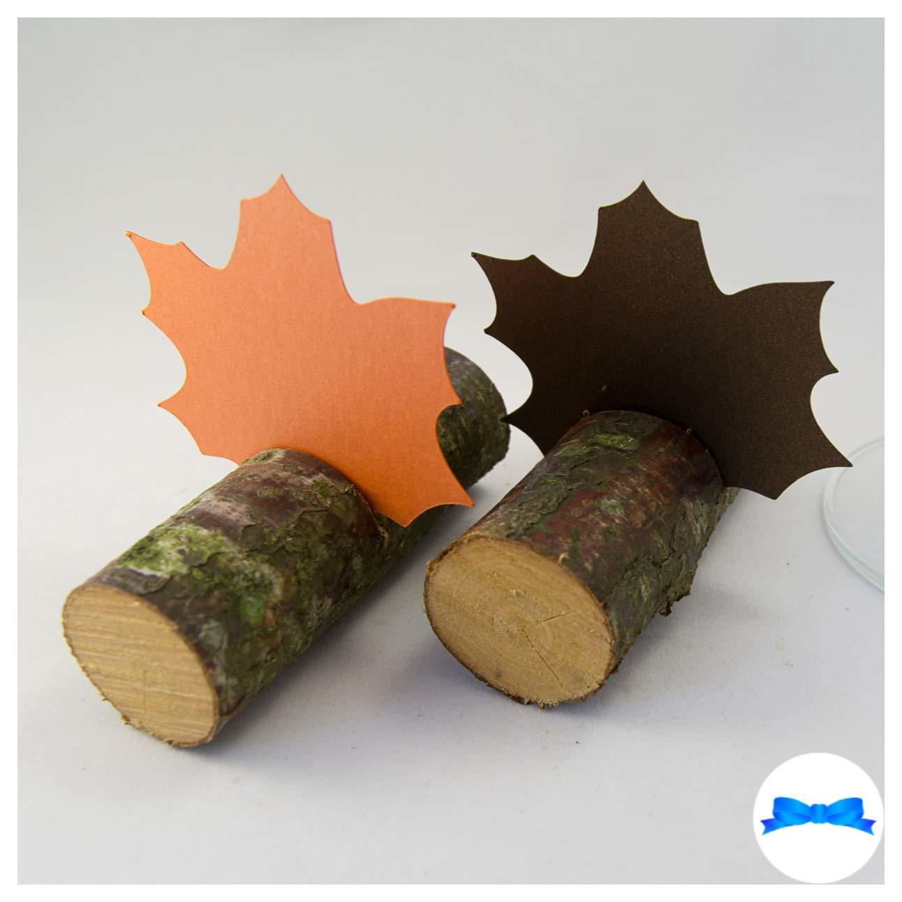 Maple leaves for table names on logs