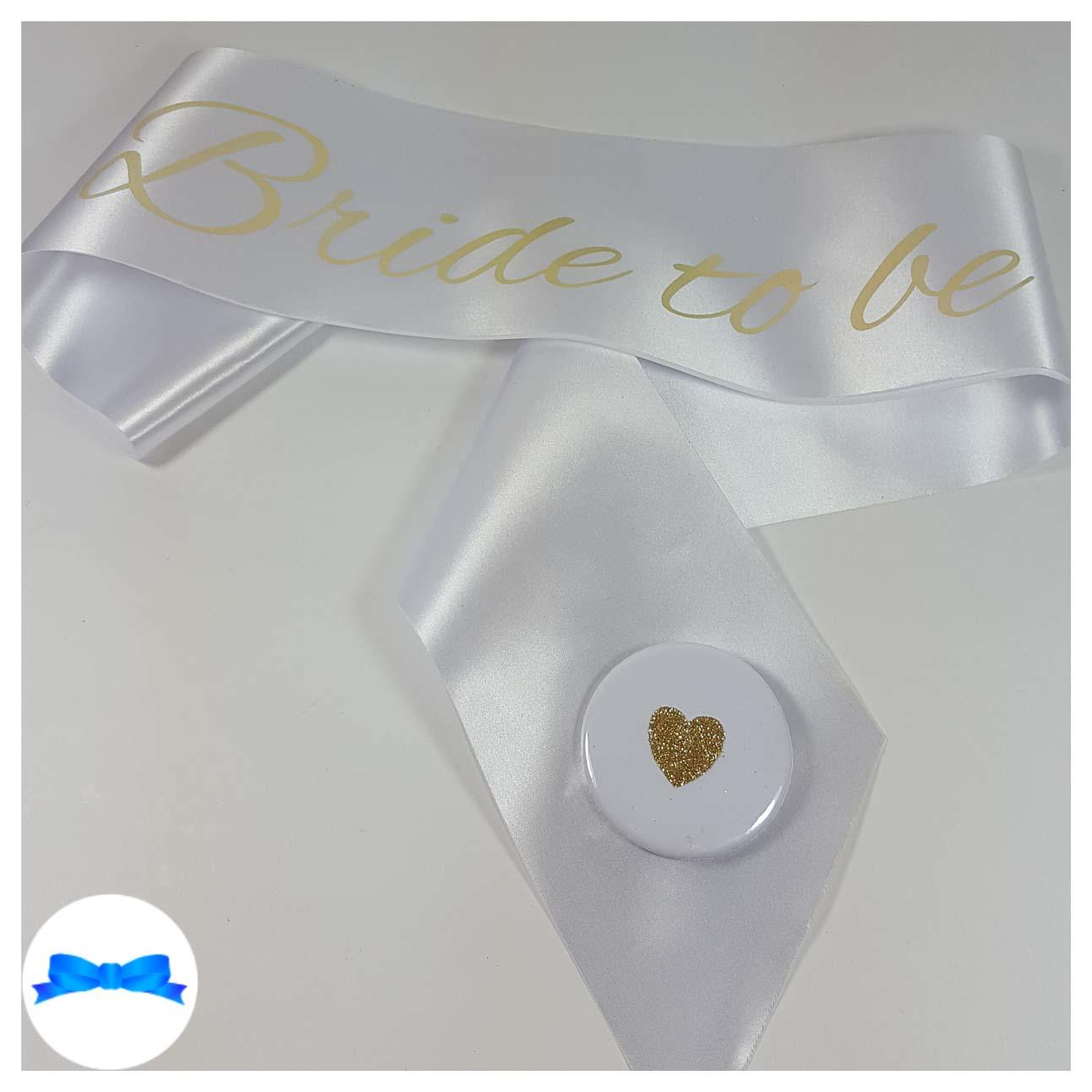 White bride to be sash gold print