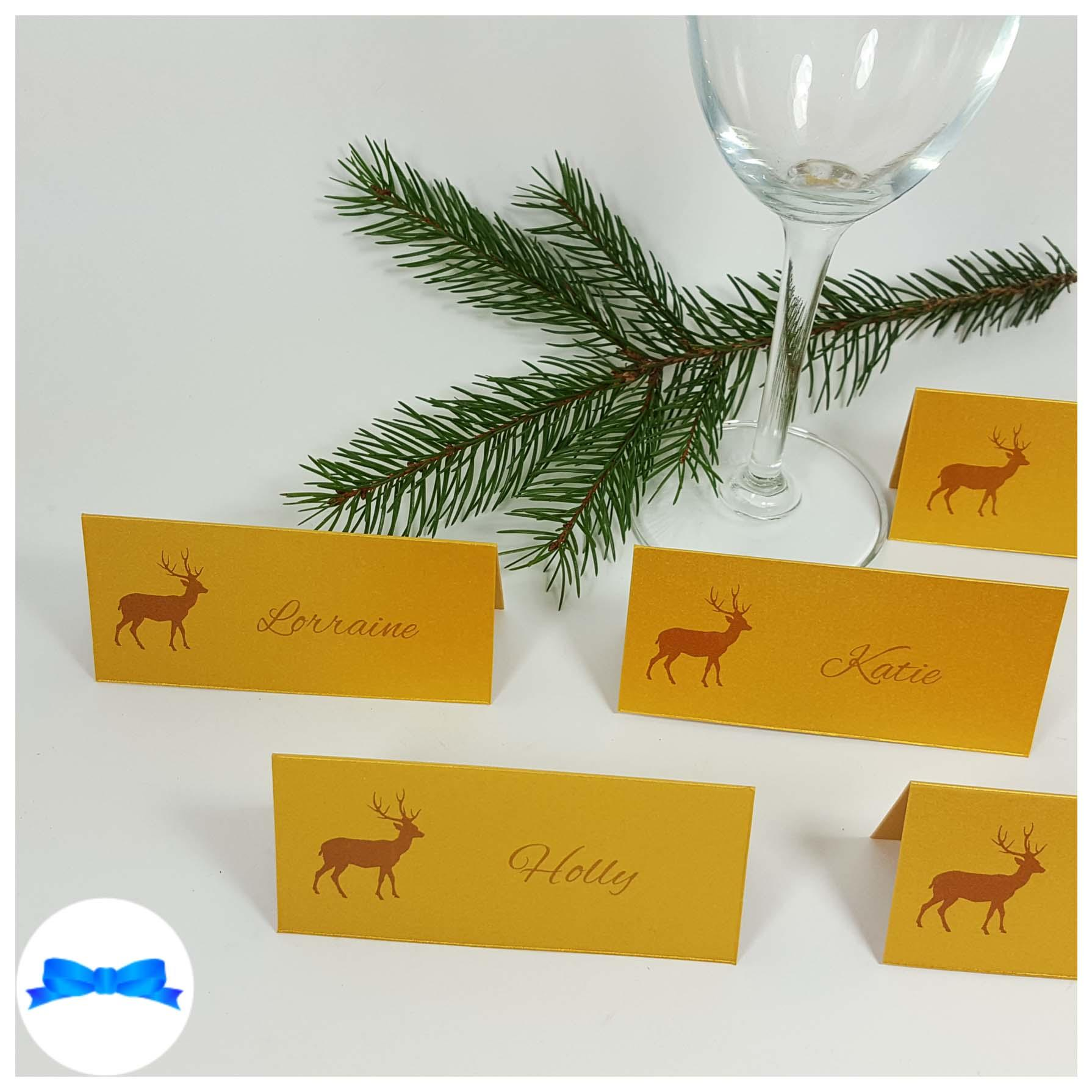 Gold reindeer place cards