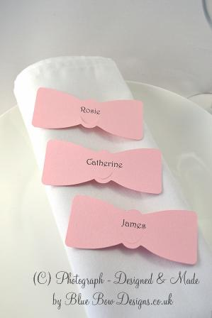 Pink  bow tie wine glass place cards