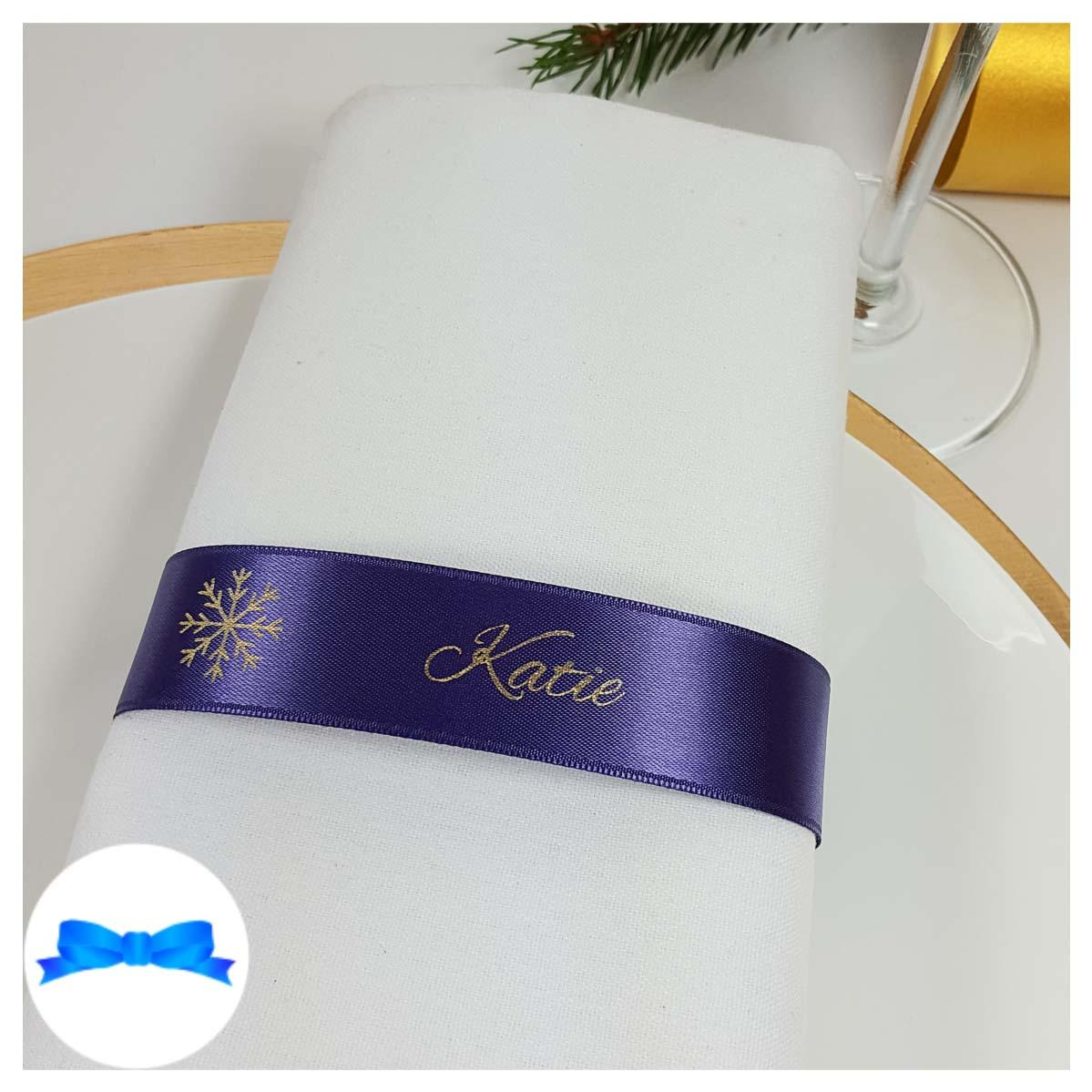 Regal purple and gold napkin guest name ribbon