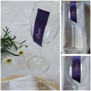 Guest name wine glass ribbons purple and silver