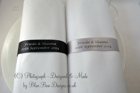 Black and silver Wedding napkins