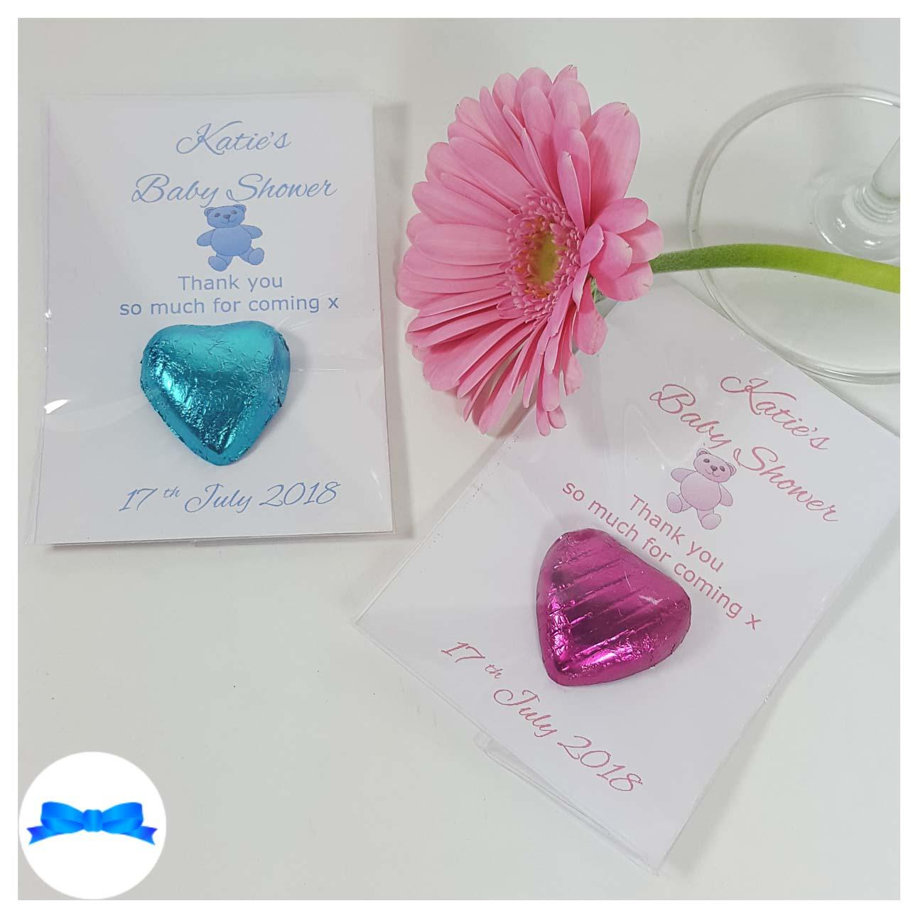 Baby shower chocolate heart favours with pink and blue teddy bears