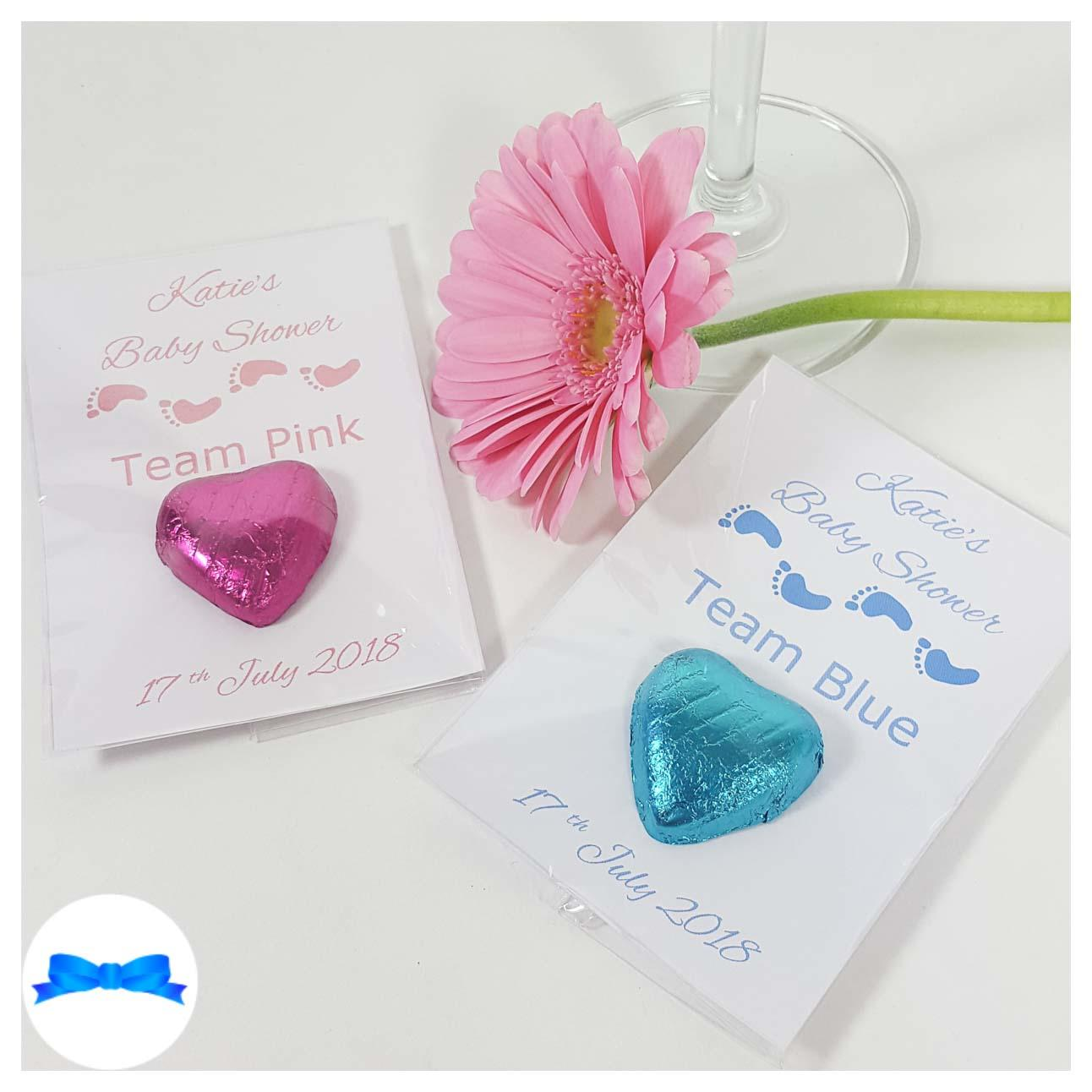 Baby shower chocolate heart favours with pink and blue baby foot prints