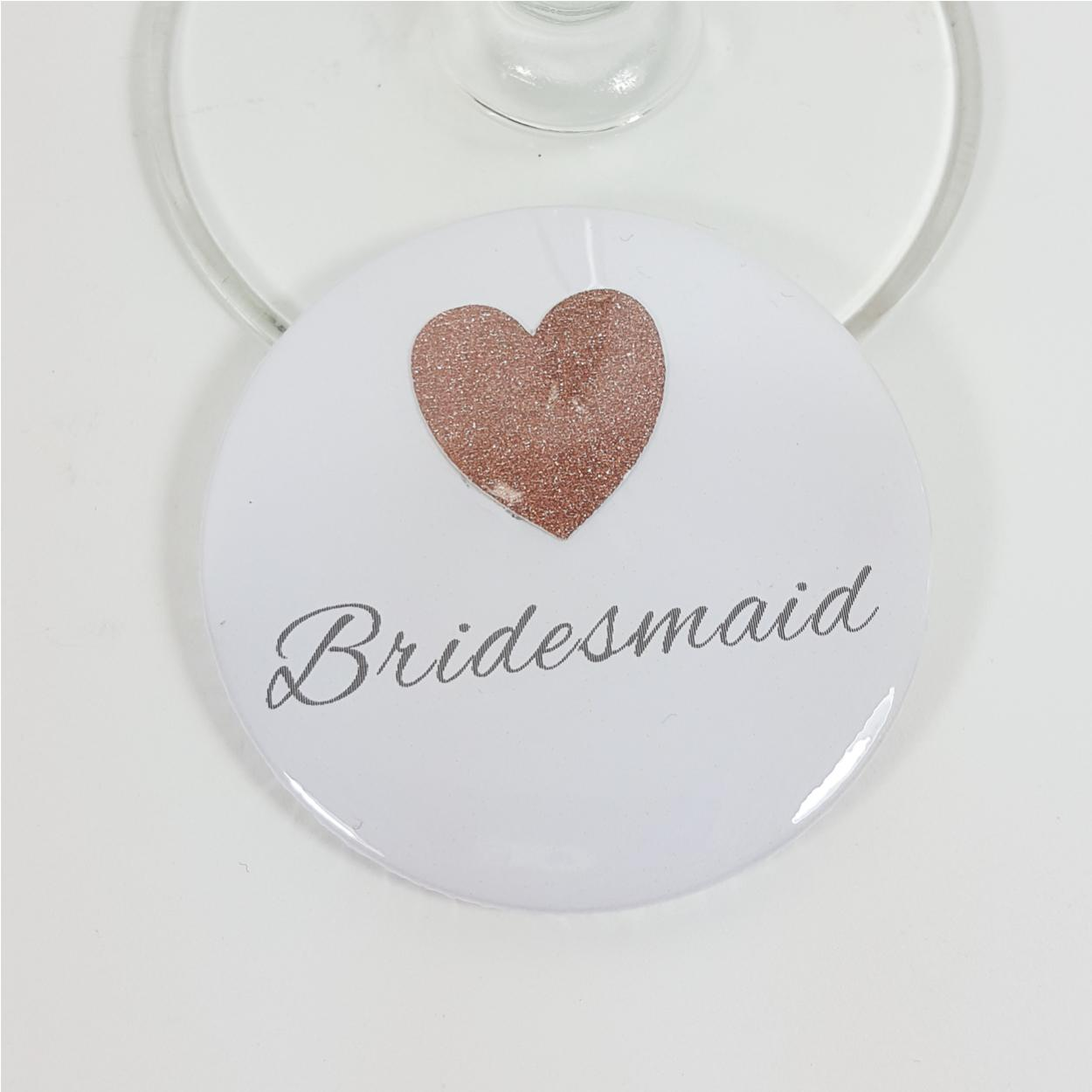Bridesmaid badge with real sparkly glitter