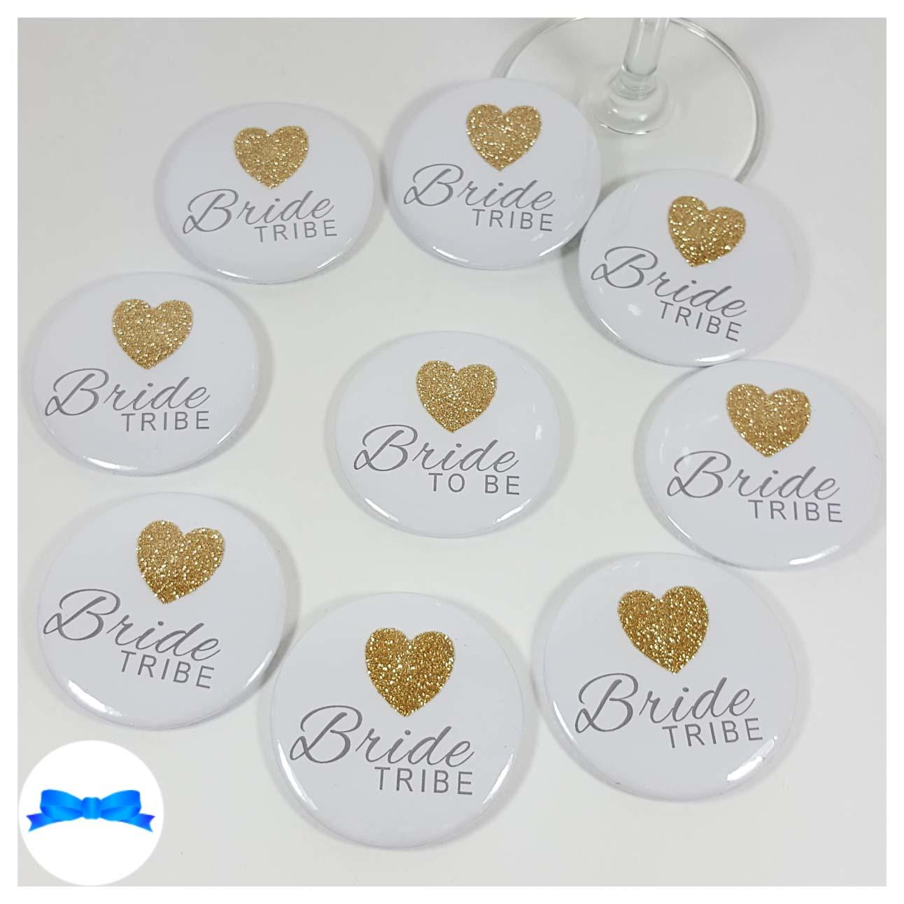 Bride to be badge and gold glitter badges