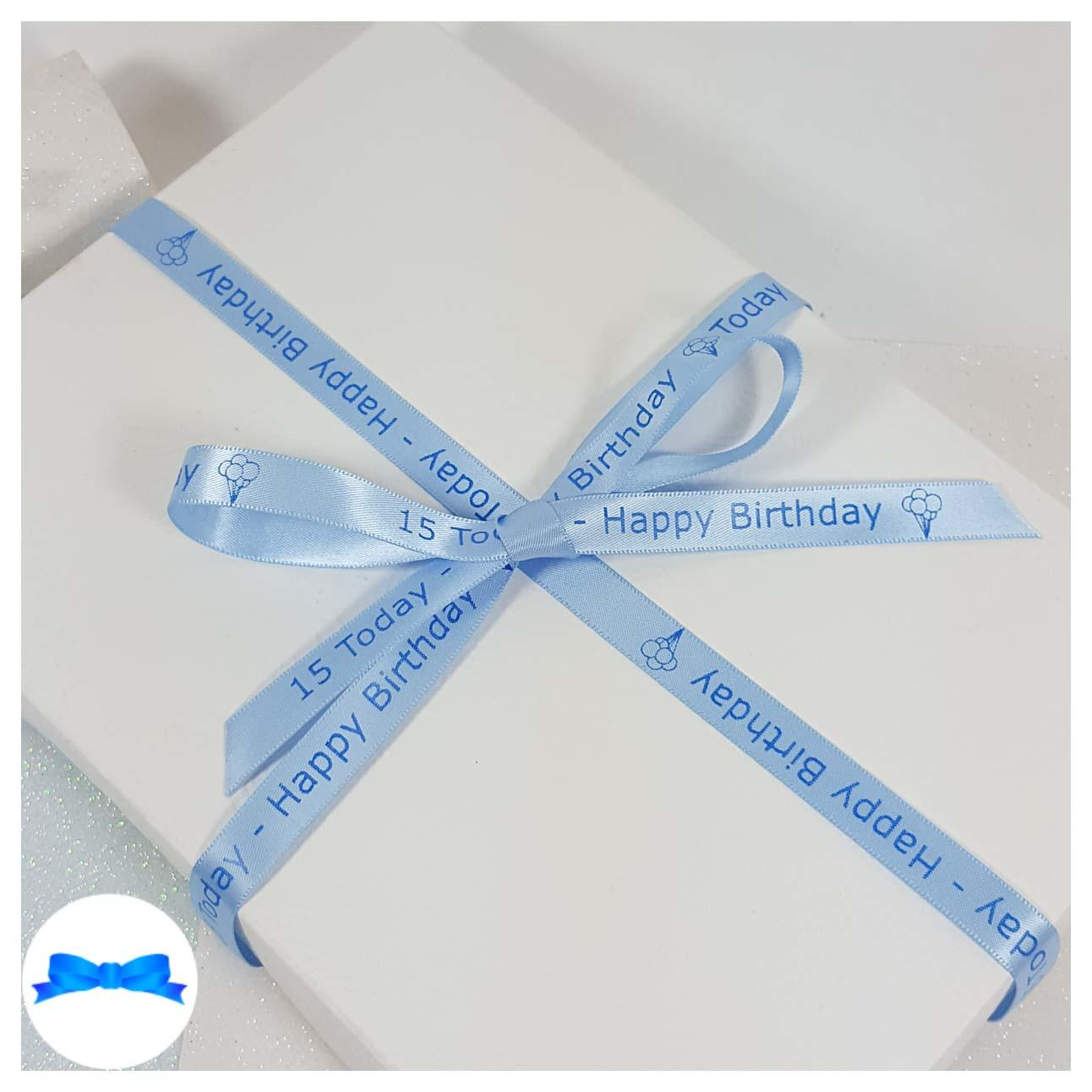 Blue personalised printed ribbon