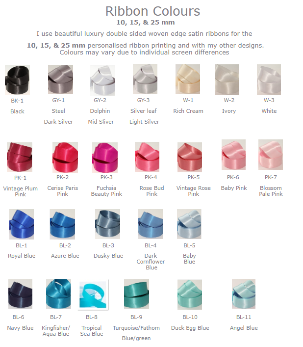 satin ribbon colours
