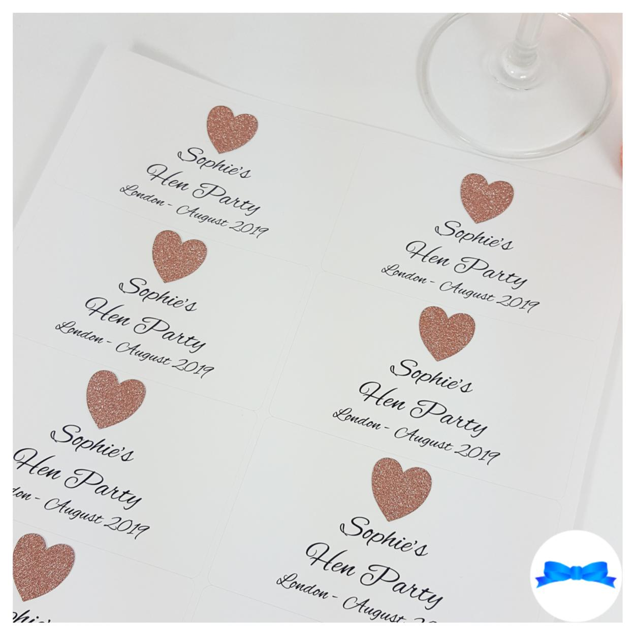 Personalised mini bottle stickers rose gold glitter hearts