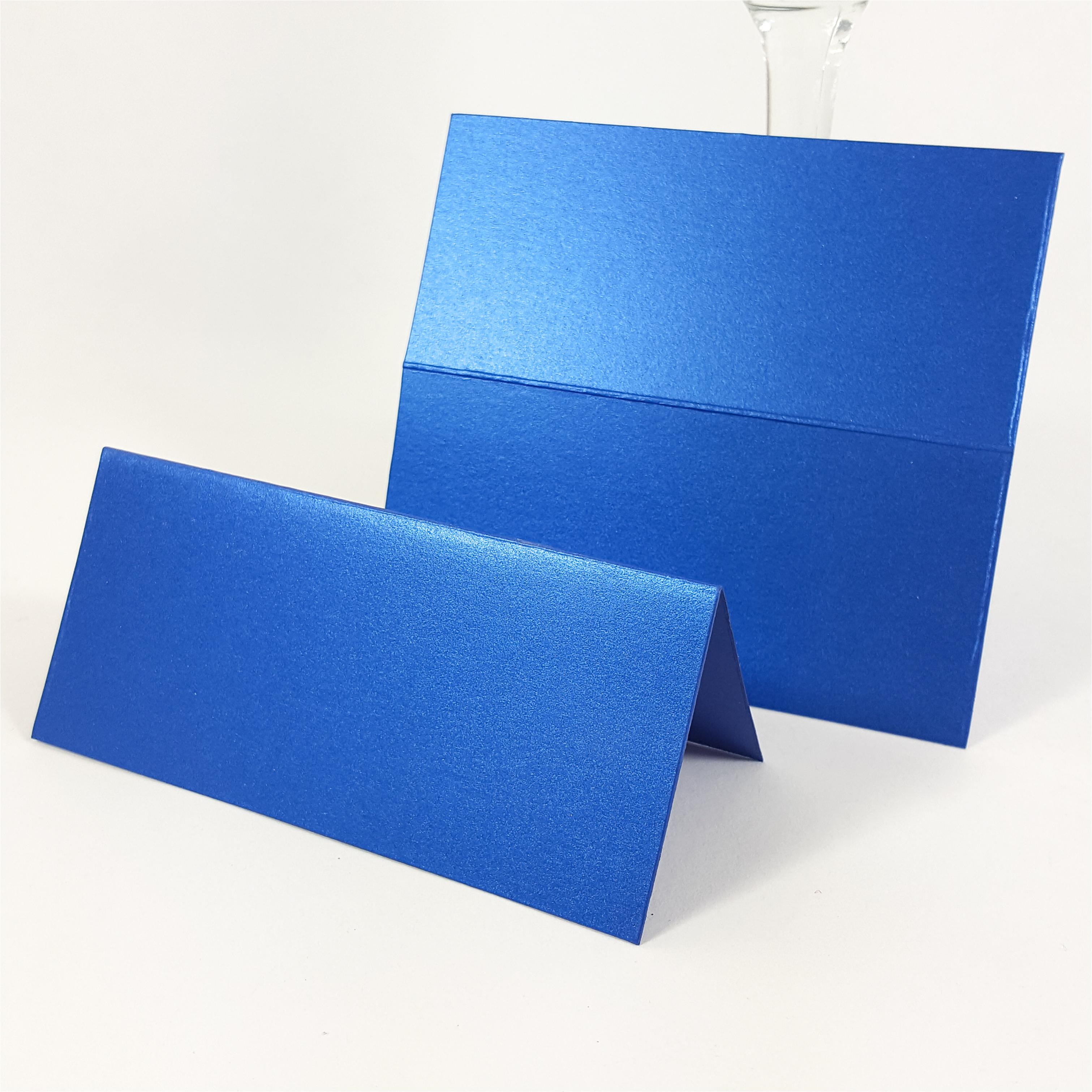 Medium Royal blue place card Pearlescent card with flat place card to show  fold line