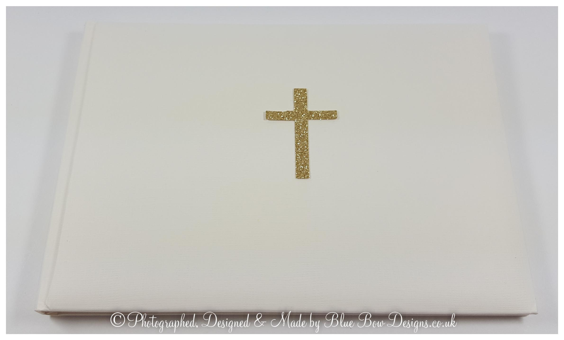 Funeral Memorial book with gold cross