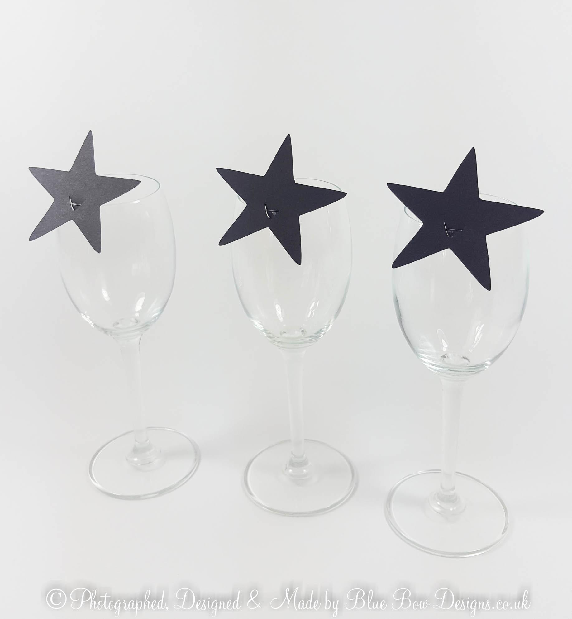 Black place card stars