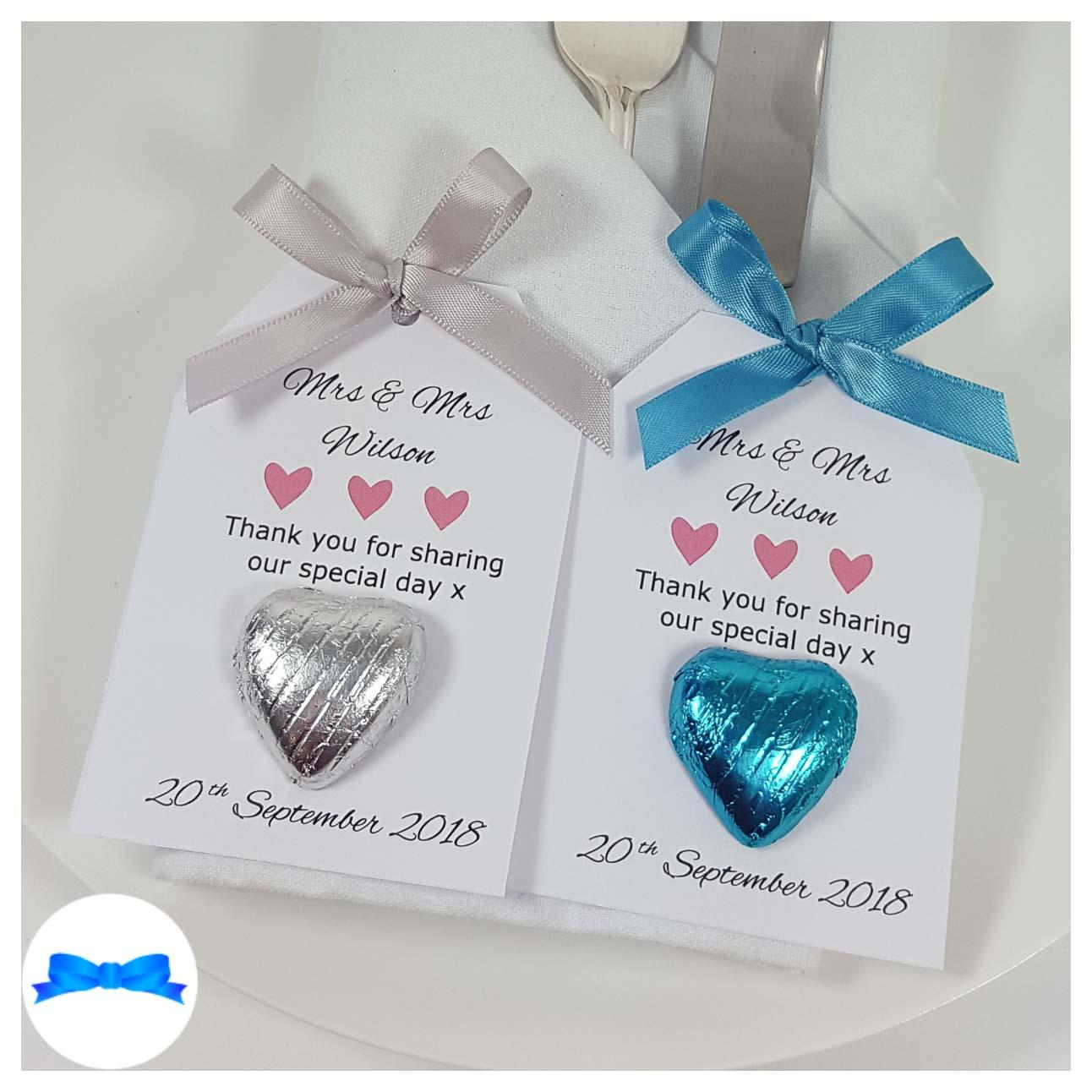 silver and blue wedding favour